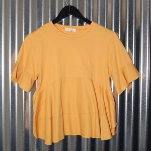 Tops - mustard yellow top with ruffle detailing